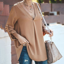 Solid Color V-Neck Sexy Long-Sleeved Shirt