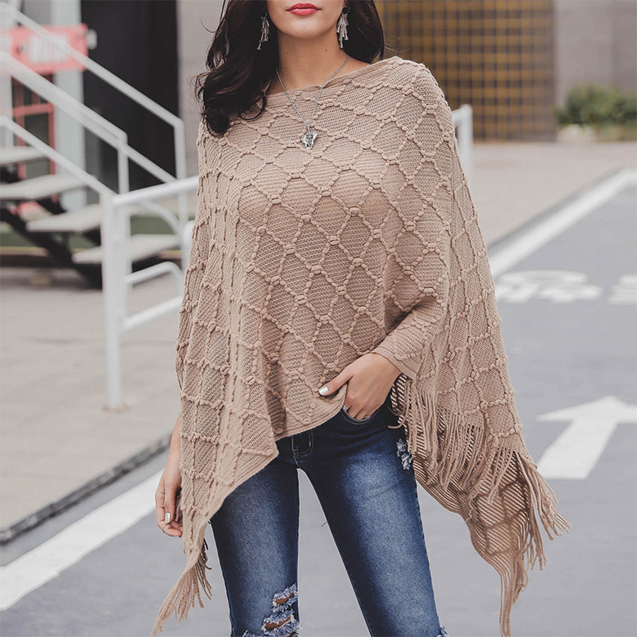 Solid Color Plaid Shawl Cloak Sweater