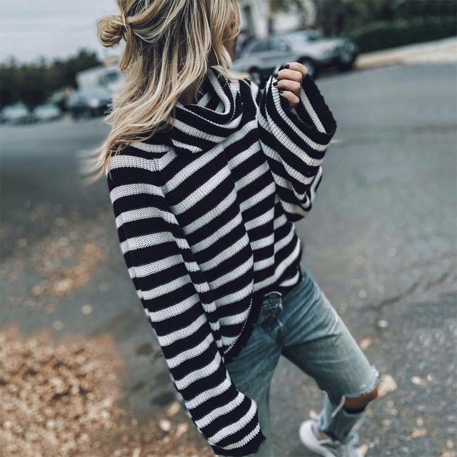 Loose High Collar Black And White Striped Long Sleeve Sweater