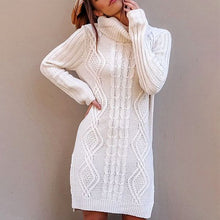 Casual High-Necked Long-Length Twisted Long-Sleeve Sweater