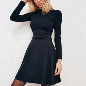 Long Sleeve Solid Color A-Line Pleated Mini  Dress
