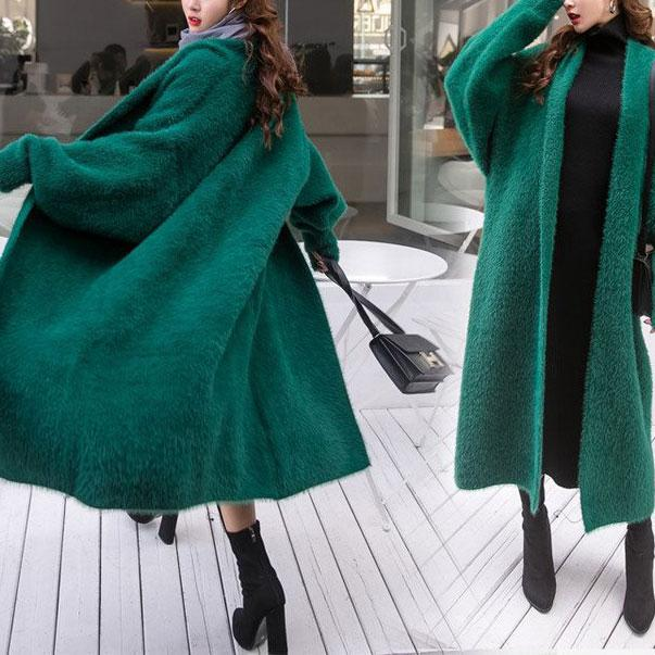 Fashion Casual Thicken Warm Artificial Fur Medium Length Plain Cardigan