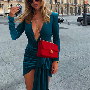 Sexy Deep V Split Velvet Long Sleeve Dress