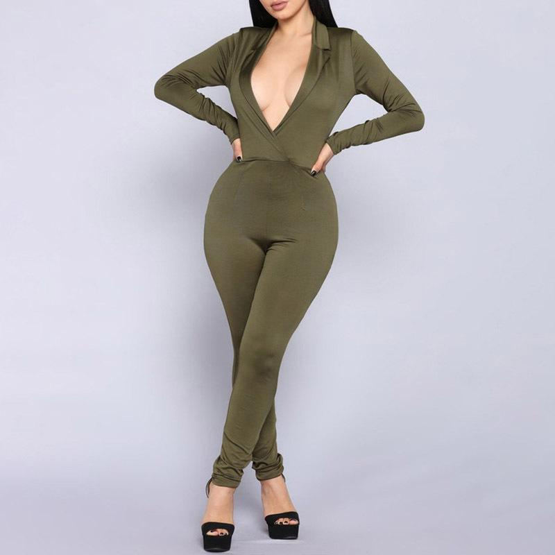 V-Neck Sexy Fashion Fleece   Jumpsuit