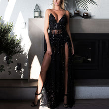 Sexy Sequined Sling Backless Split Dress