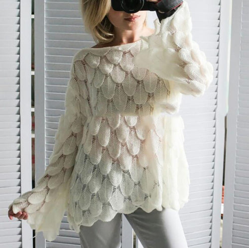 Fashion Open Shoulder Long Sleeve Pullover Sweater