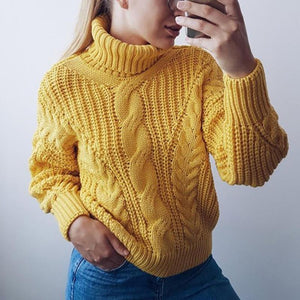 High Collar Thick Twisted Pullover Sweater