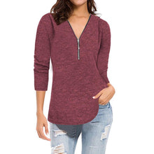 Loose Long Sleeved V-Neck Zip T-Shirt