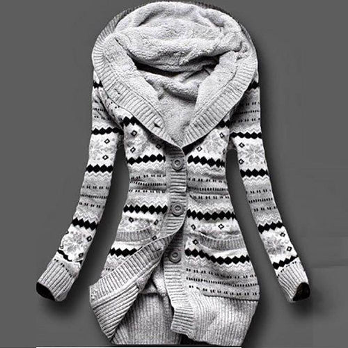 Women Casual Fleece Print Hooded Cardigan
