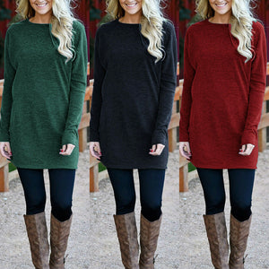 e2c87090162a Casual Loose Long Sleeve Stitching Sweater Dress