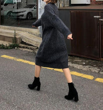 Casual Loose Bat Sleeve Knitted Sweater Maxi Dress
