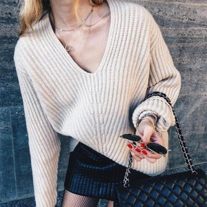 Casual V Neck Loose Thick Sweater