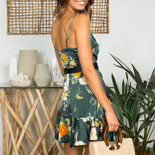 Sexy Ruffle Printed Sling Mini Dress