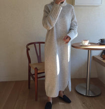 Casual High collar   long Shown thin knitted sweater Maxi dress