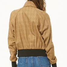 Plaid Bow Collar Zip Short Jacket