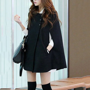 Collarless Pocket Plain Woolen Cape Sleeve Coat