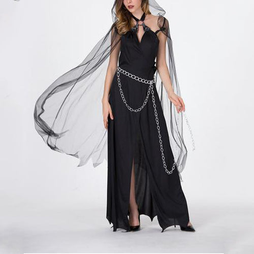 Halloween Sexy Sling Witch Cosplay Maxi Dress