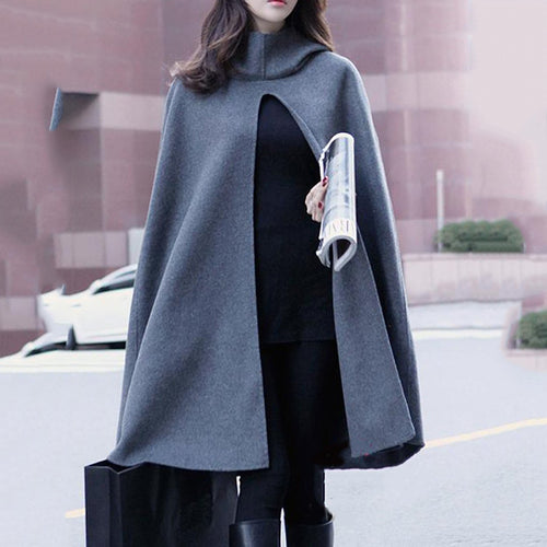 Hooded Plain Vented Woolen Cape Sleeve Coat