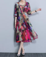 3/4 Sleeve Two Pieces Set Straps Elegant Printed Plus size Dress