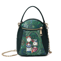 Bohemian Forest Chain Crossbody Bag Double Zipper Handbag