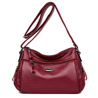 Women Soft Leather Solid Crossbody Bag Leisure Messenger Bag