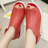 Casual Wedge Heel Sandals Microfiber Leather Magic Tape Shoes