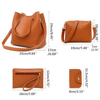 4 PCS PU Leather Tote Bag Crossbody Bag