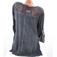 Plus Size Sexy Lace Collar Loose V Collar Long Sleeved T Shirt