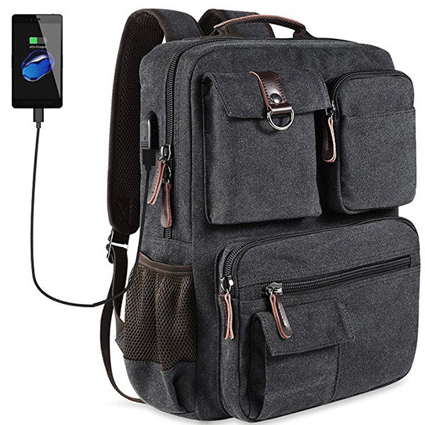 Canvas Travel Backpack With USB Socket Laptop Compartment