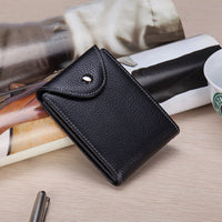 Business Pu Leather Wallet 6 Card Slots Card Holder Hasp Coin Bag
