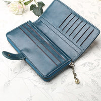Vintage Oil Wax Trifold Long Wallet Solid PU Leather Phone Bag