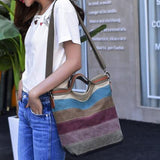 Canvas Contrast Color Striped Handbag Crossbody Bag