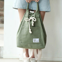 Canvas String Large Capacity Handbag Multifunction Waterproof Backpack