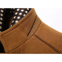 Wool Trench Coats Detachable Scarf Mid Long Business Stylish Coat