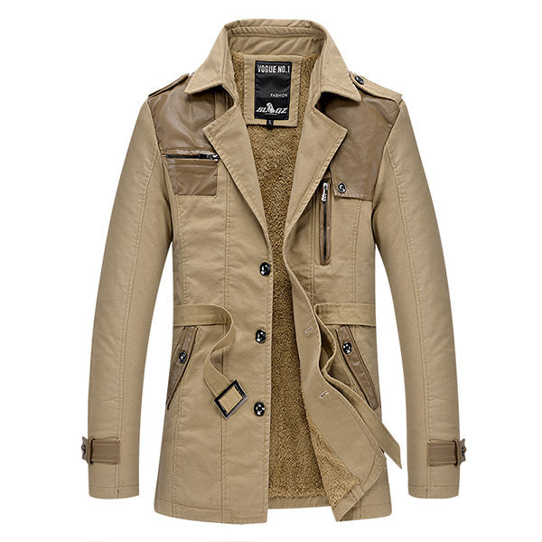 Warm Fleece Lining Trench Coat Business Patchwork Jacket