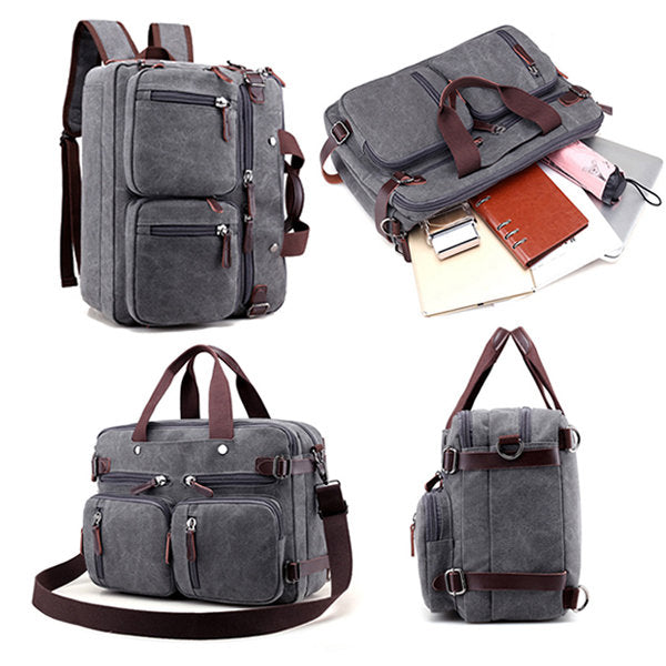 Canvas Crossbody Bag Multi Pocket Backpack Handbag
