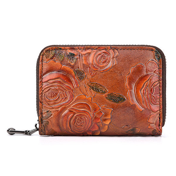 Vintage Floral Genuine Leather Card Holder Coin Purse Wallet