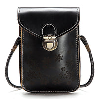 Vintage Faux Leather Flower Crossbody Bag 6 inches Phone Bag