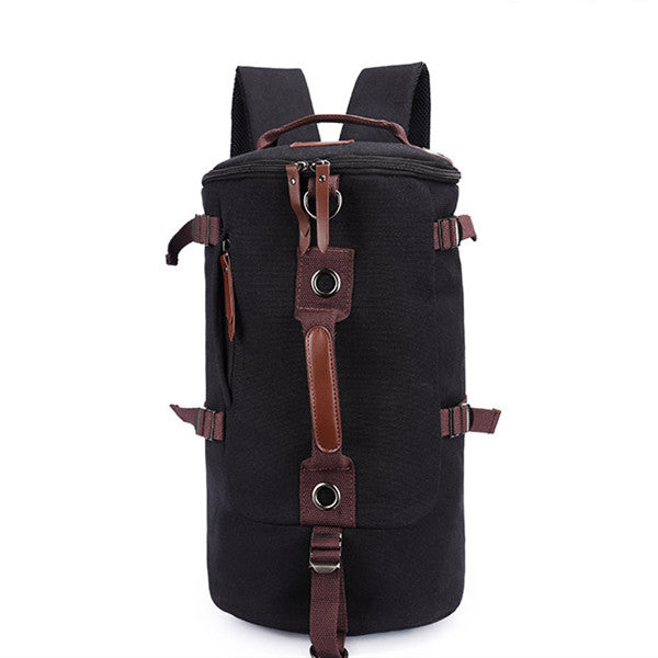 Dual-Use Canvas Bucket Backpack Climbing Bag Laptop Duffel Bag