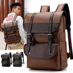 Large Capacity PU Leather Backpack Casual Vintage Bag