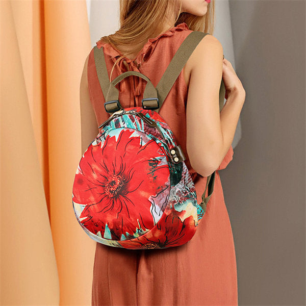 Waterproof Flower Pattern Backpack Shoulder Bag