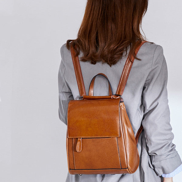Genuine Leather Backpack Preppy Style Shoulder Bag School Bag