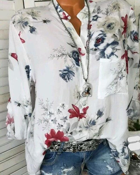 Plus Size Basic Floral Blouses Shirt Tops