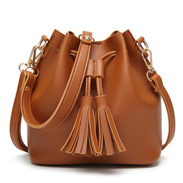 Vintage Tassel Bucket Bag Mini PU Leather Crossbody Bag