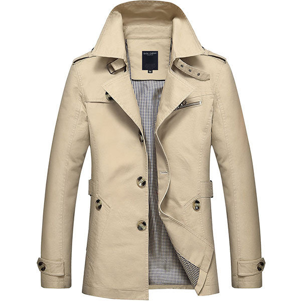 Turndown Collar Trench Coat Business Casual Washed Cotton Jacket