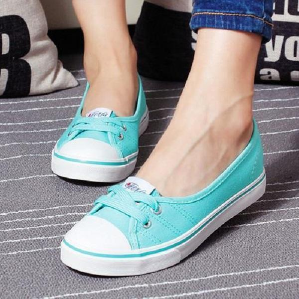 Casual Canvas Lace Up Shoes Large Size Slip On Flats