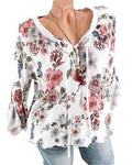 Fashion Floral Print V-Neck Lace Up Blouses Tops
