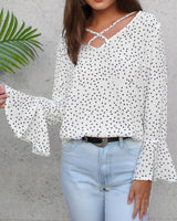 Polka Dot Long Sleeve V-Neck Blouse