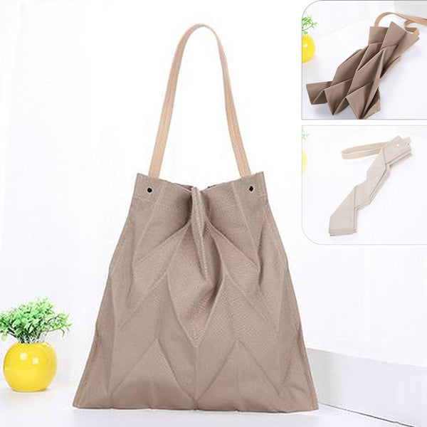 Women Organ Fold Canvas Bag Solid Shoulder Bag