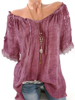 Lace Crochet Short Sleeve Pure Color Shirts